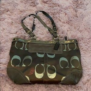 Browns/gold Coach purse. Great used condition